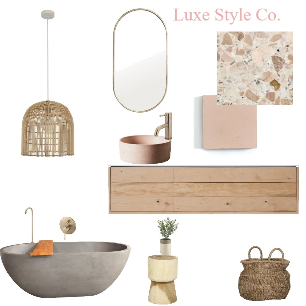 Blush Luxe Bathroom Interior Design Mood Board by Luxe Style Co. on Style Sourcebook