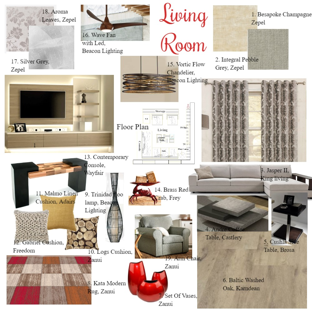 Living Room Interior Design Mood Board by Bhakti Mehta on Style Sourcebook