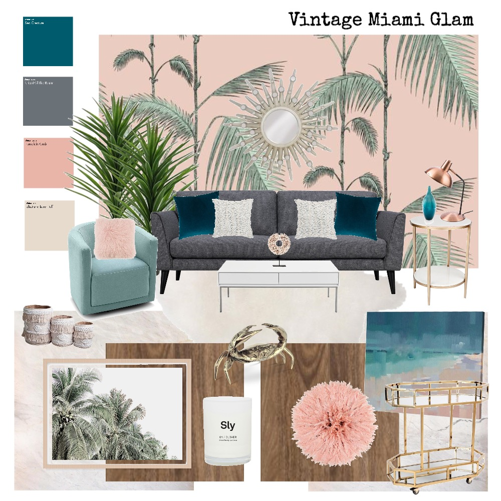Vintage Miami Glam Interior Design Mood Board by AlainaPhillippi on Style Sourcebook