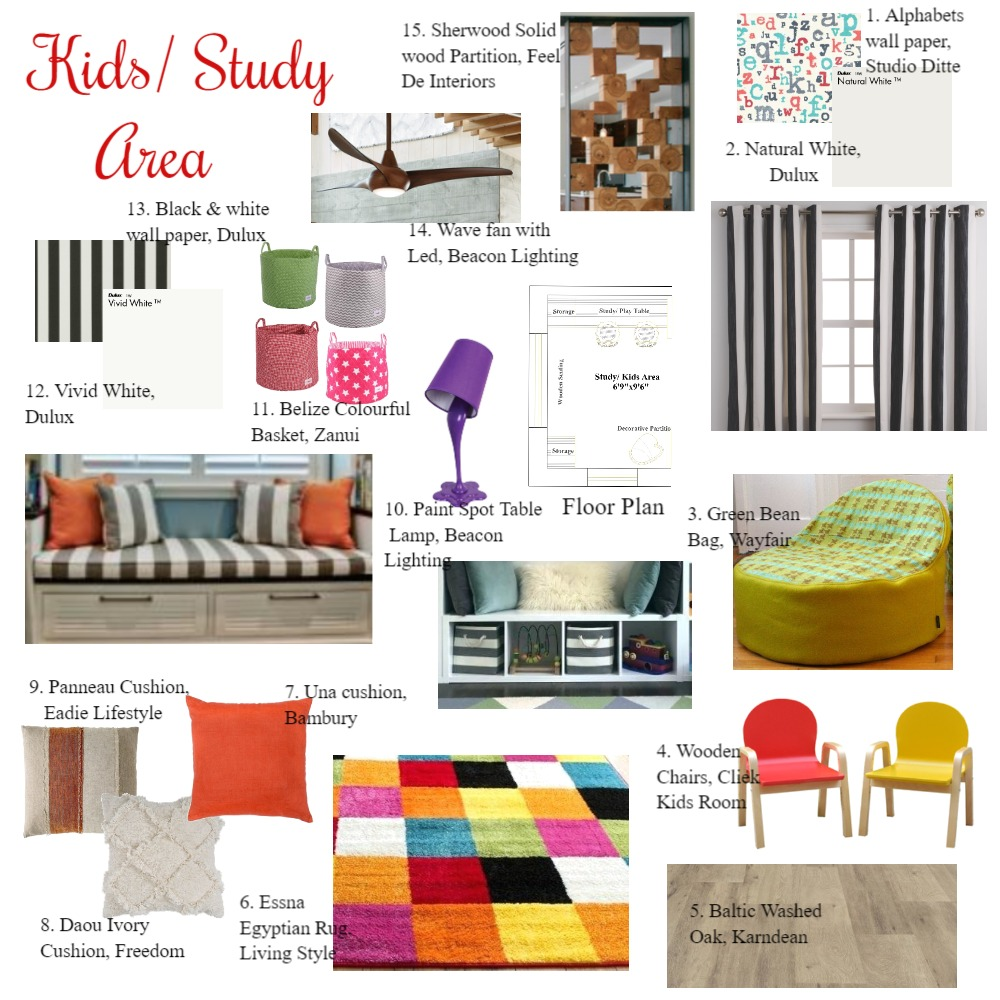 Kids/ Study Area Interior Design Mood Board by Bhakti Mehta on Style Sourcebook