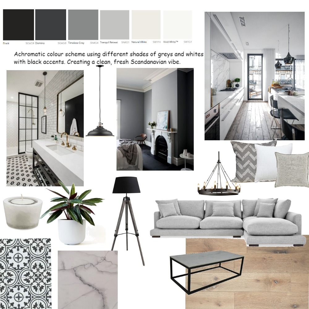 Achromatic Colour Scheme A6 Interior Design Mood Board By Laurat Style Sourcebook