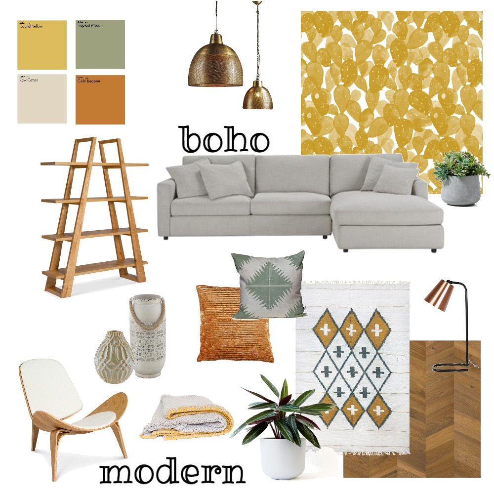 Boho Modern Living Interior Design Mood Board by AlainaPhillippi on Style Sourcebook