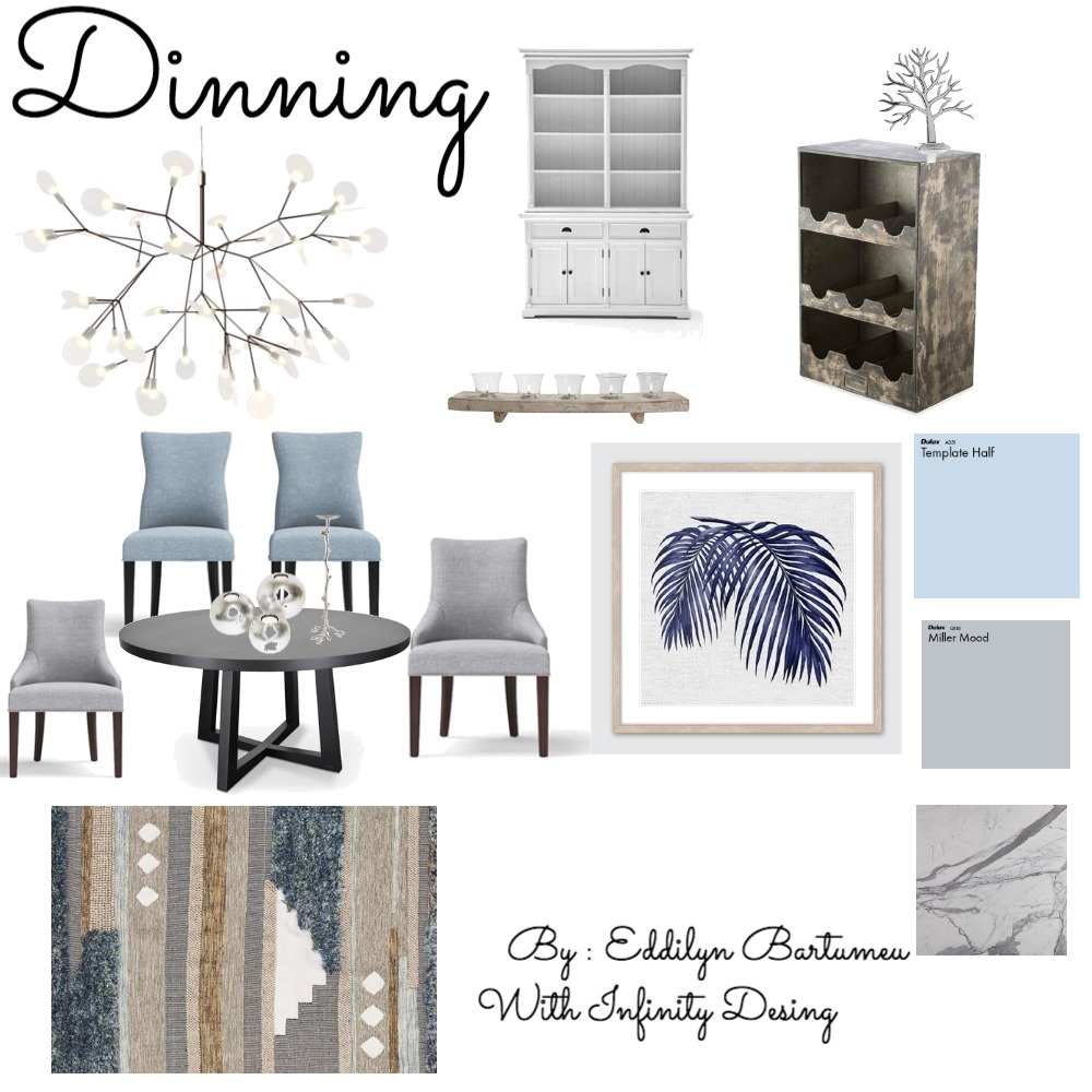 Assignment # 9 - Presenting Ideas  -  Dinning Room / Design Board Interior Design Mood Board by Infinity Design on Style Sourcebook