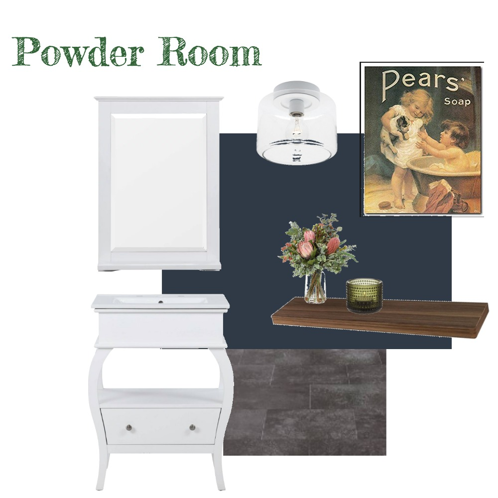 Powder Room (Navy) Interior Design Mood Board by aphraell on Style Sourcebook