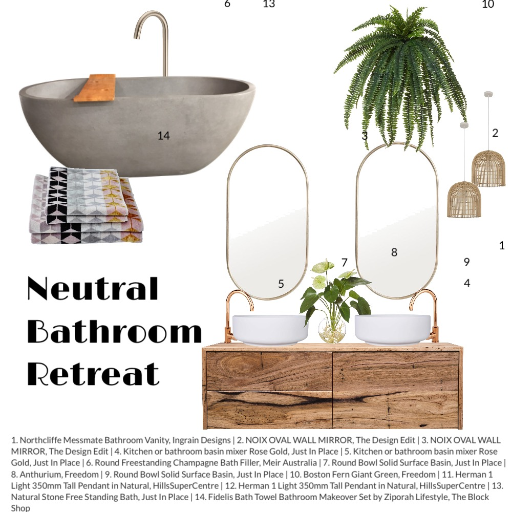Neutral Bathroom Interior Design Mood Board by Shanna McLean on Style Sourcebook