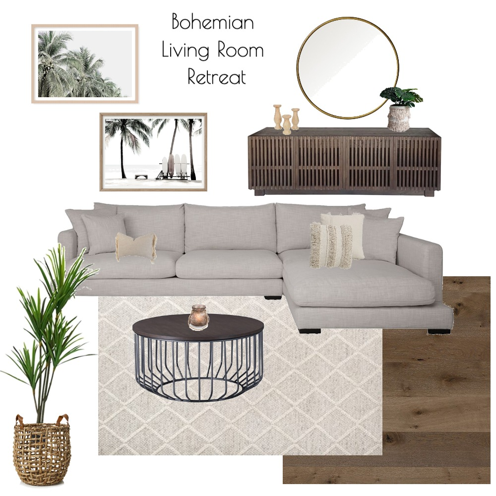 Boho Living Room Retreat Interior Design Mood Board by Agazzano on Style Sourcebook