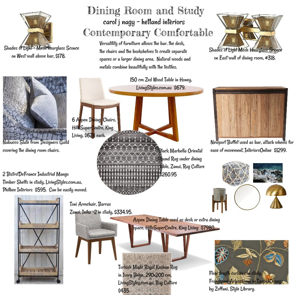 Dining Room and Study Interior Design Mood Board by cjn on Style Sourcebook