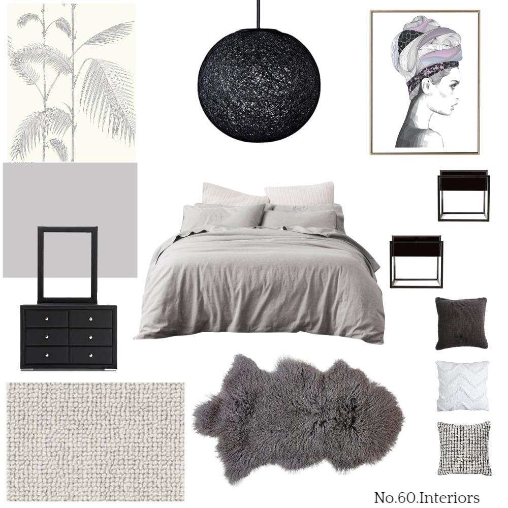Black Grey Bedroom Interior Design Mood Board by RoisinMcloughlin on Style Sourcebook