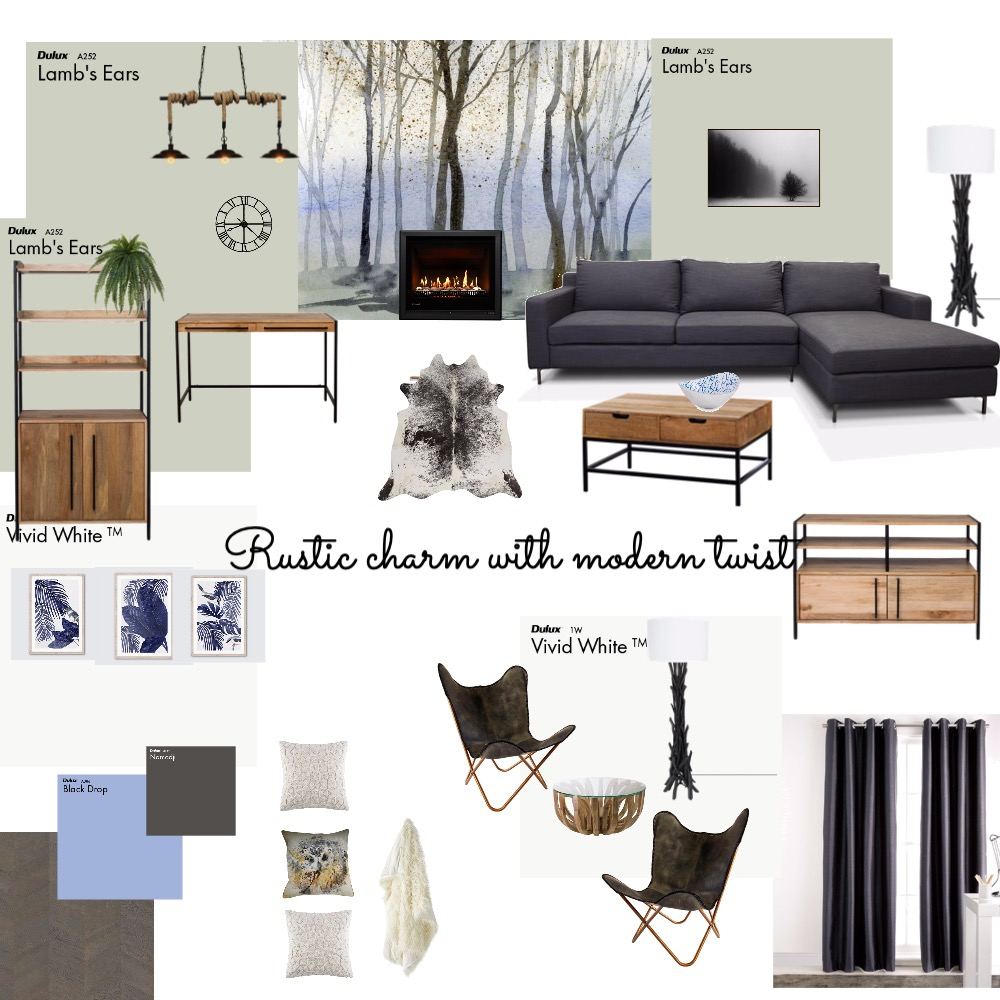 Lounge rustic Interior Design Mood Board by VisualStyle on Style Sourcebook
