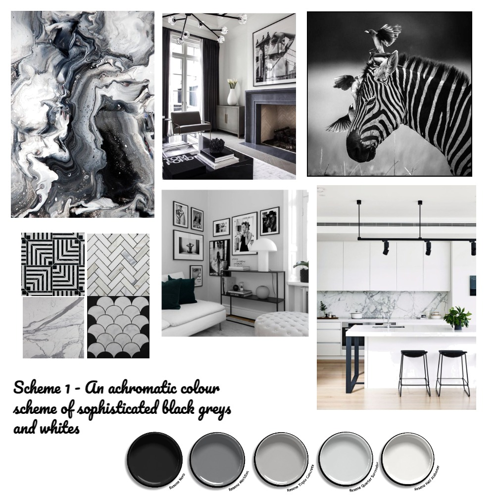Achromatic - Black, White and Grey Interior Design Mood Board by laurelle on Style Sourcebook