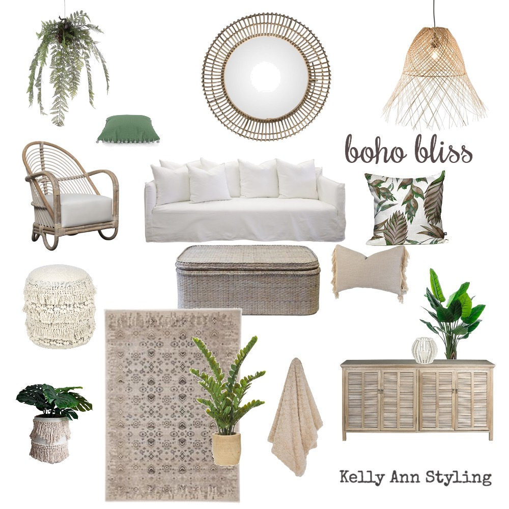 Boho Bliss Lounge room Interior Design Mood Board by Kelly on Style Sourcebook