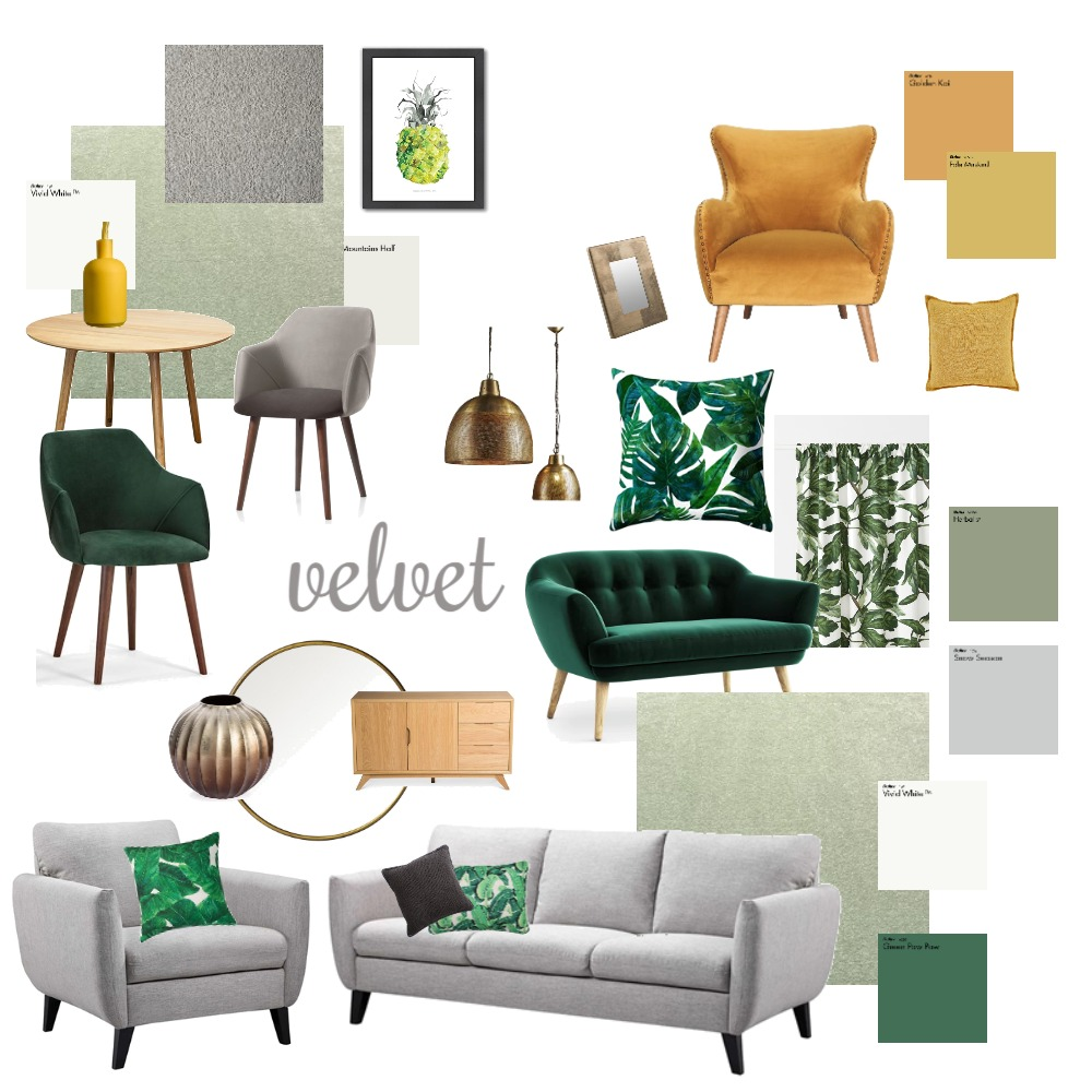 Green Living Room Interior Design Mood Board by katemaunsell on Style Sourcebook
