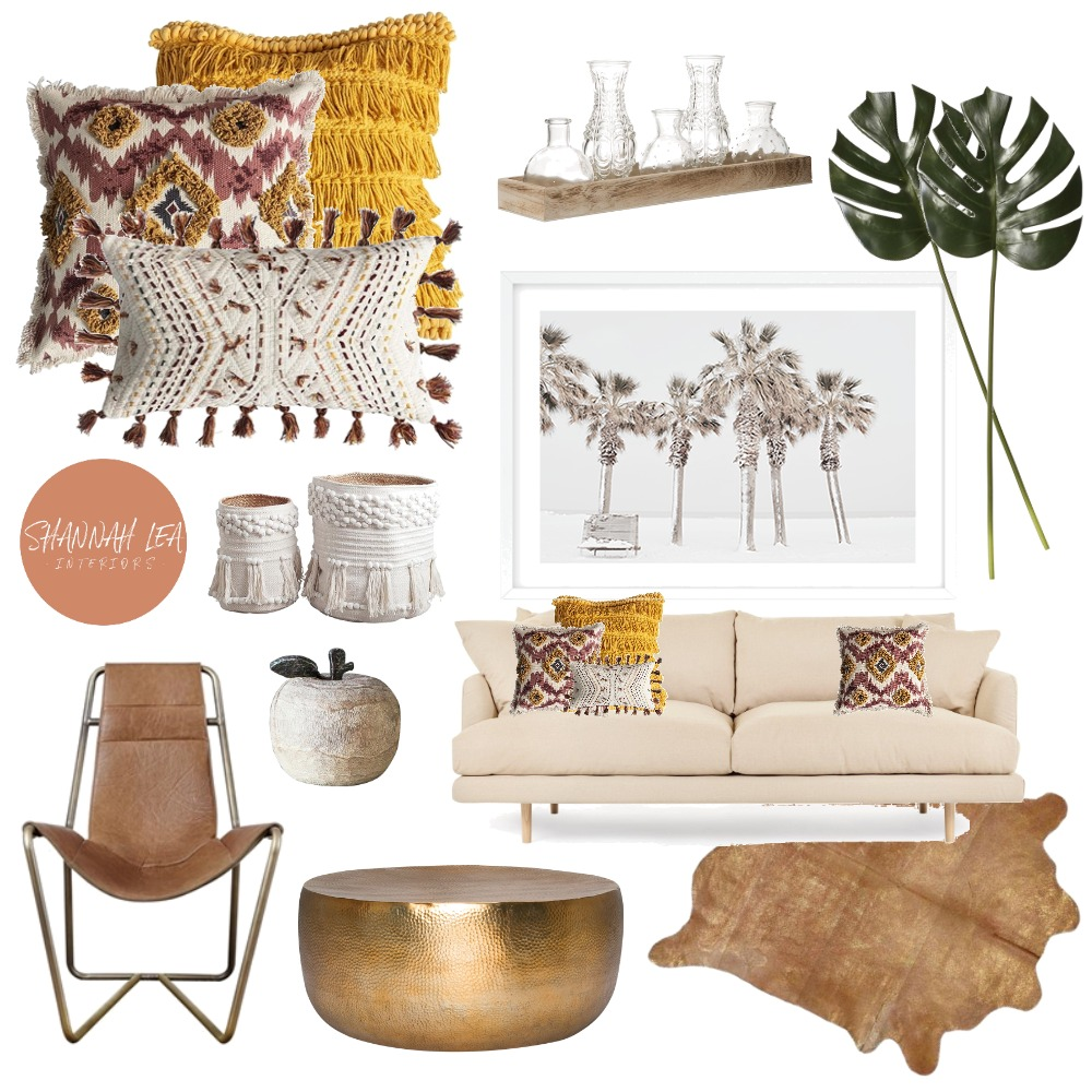 Rustic Boho Living Interior Design Mood Board by Shannah Lea Interiors on Style Sourcebook