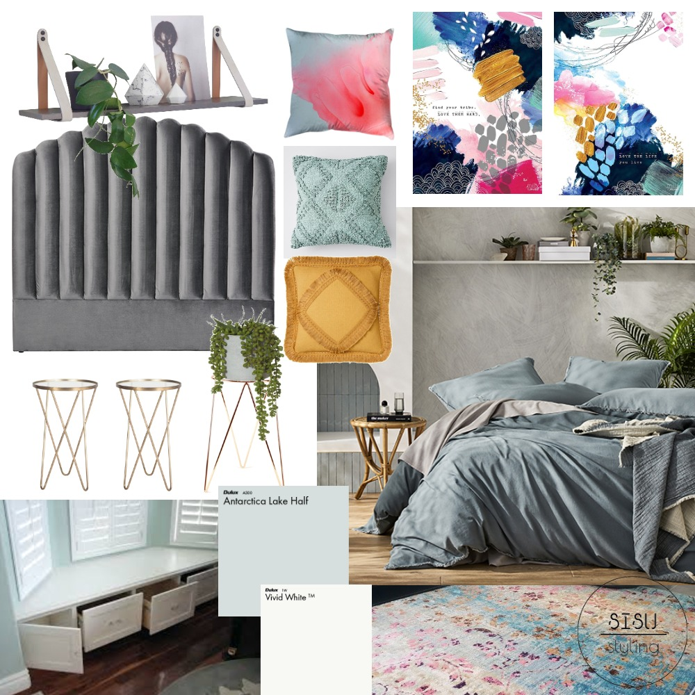 Art deco colour pop bedroom Interior Design Mood Board by Sisu Styling on Style Sourcebook