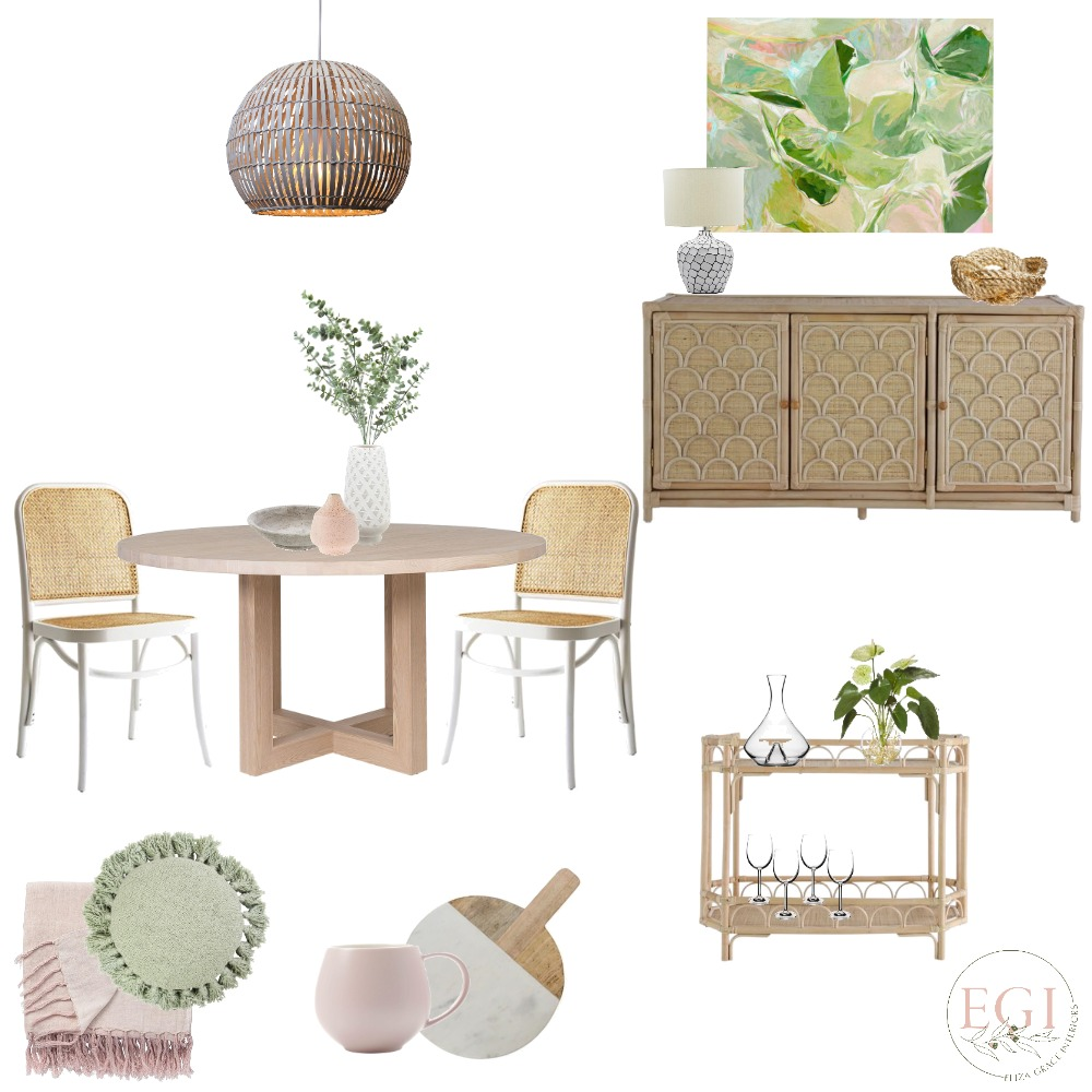 Botanical Dining Room Interior Design Mood Board by Eliza Grace Interiors on Style Sourcebook