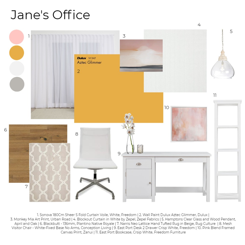 Jane's Office Interior Design Mood Board by Happy House Co. on Style Sourcebook
