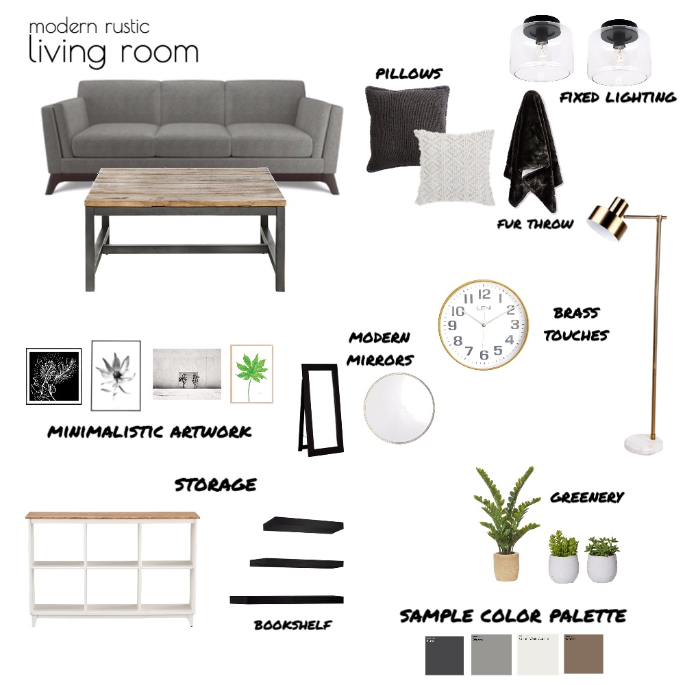 Modern Rustic Living Room Interior Design Mood Board by itskaitlynn on Style Sourcebook