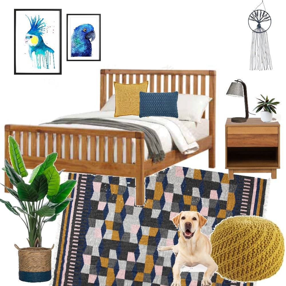 mustard and blue Interior Design Mood Board by donovaninthewild on Style Sourcebook