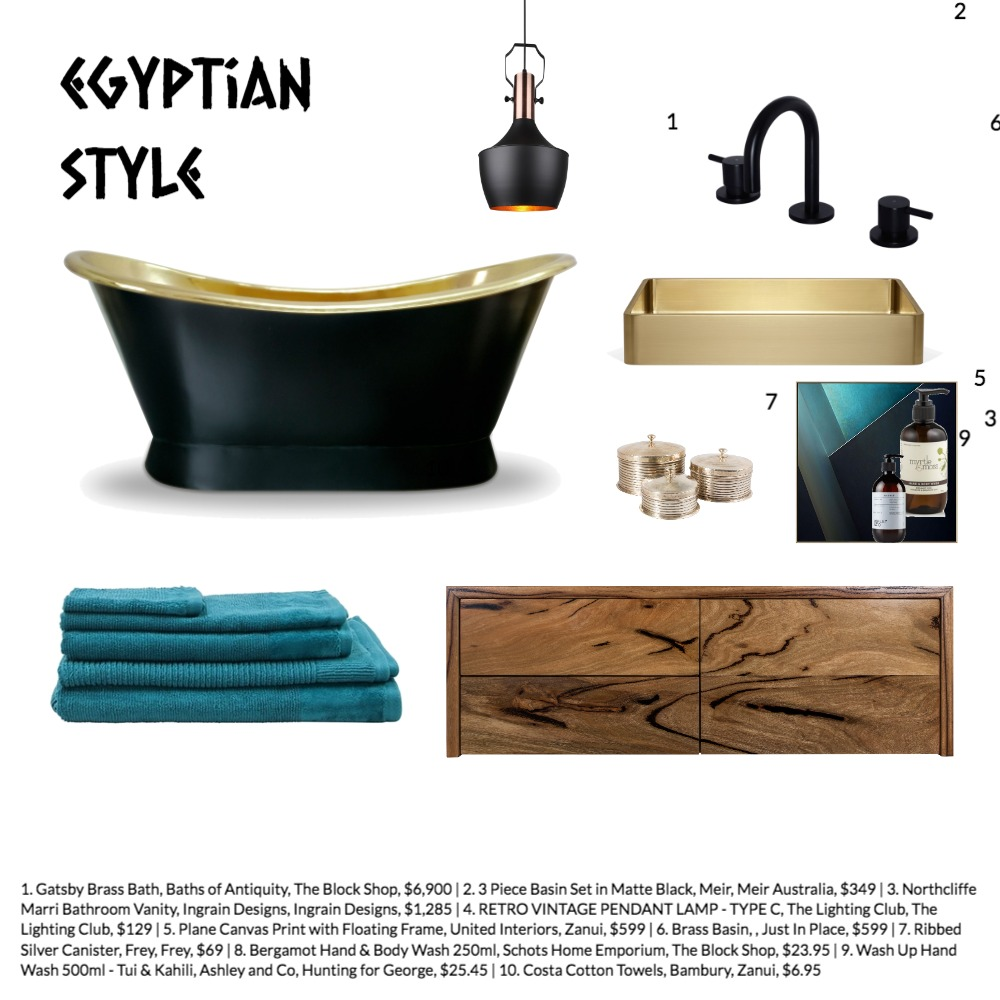 Egyptian style bathroom exercise Interior Design Mood Board by Winterdesigns on Style Sourcebook