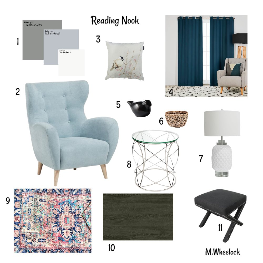 M9 Reading Nook Interior Design Mood Board by Wheemira on Style Sourcebook