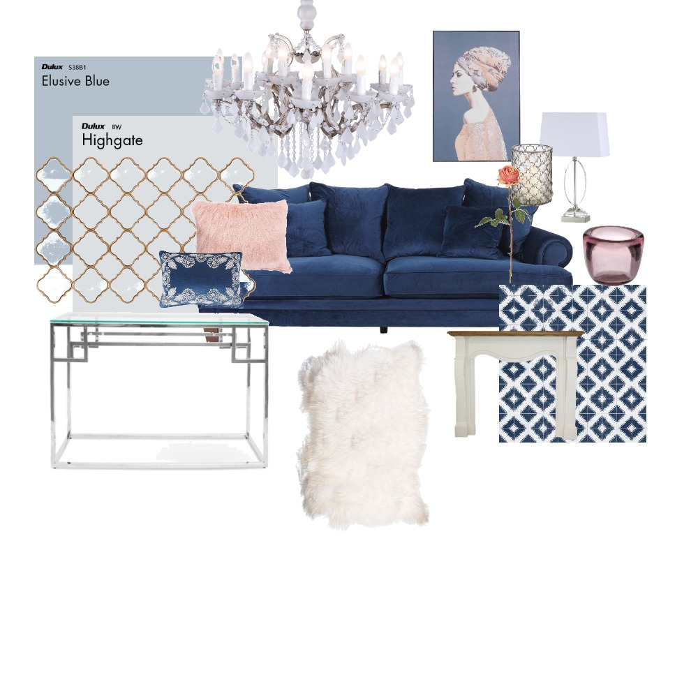 Moody Blues Glam Interior Design Mood Board by Charni on Style Sourcebook