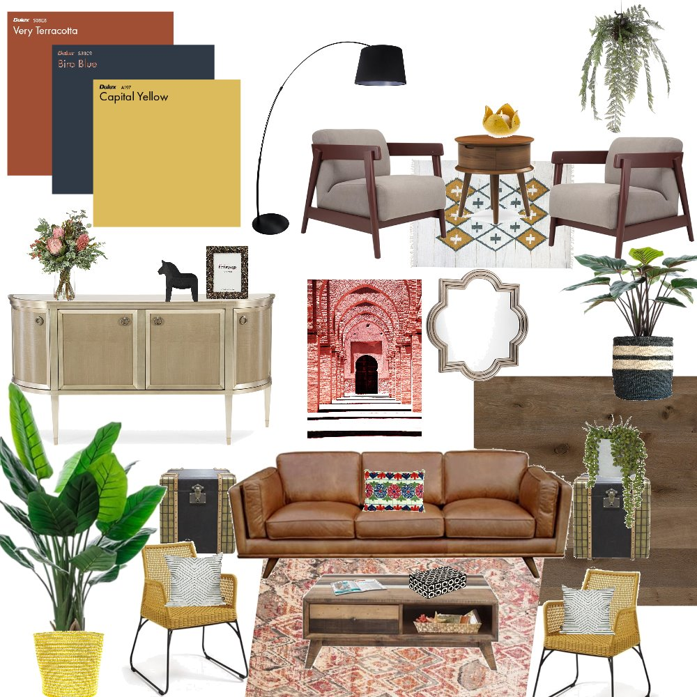 Mid Century Living Room Triadic Interior Design Mood Board by debeecullum on Style Sourcebook