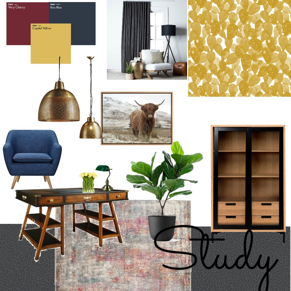 Mid Century Study Vibes Interior Design Mood Board by debeecullum on Style Sourcebook