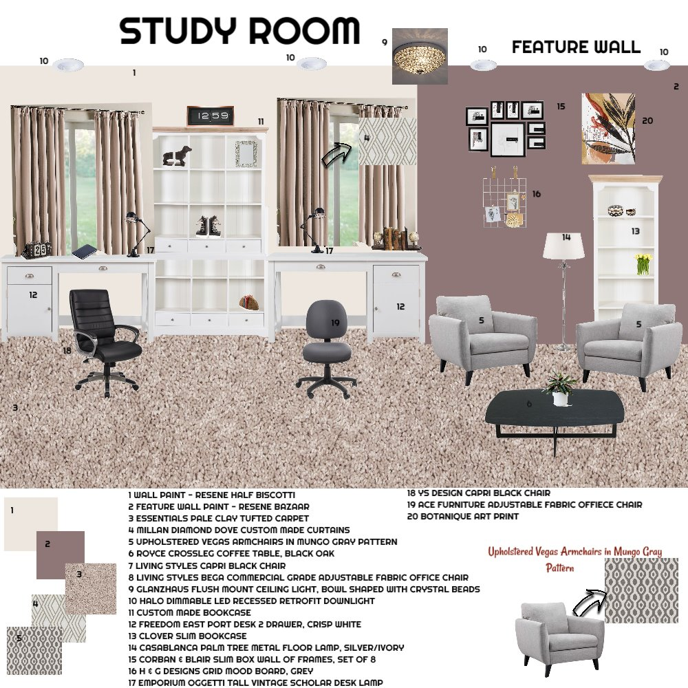Study Room Interior Design Mood Board by id_exell on Style Sourcebook