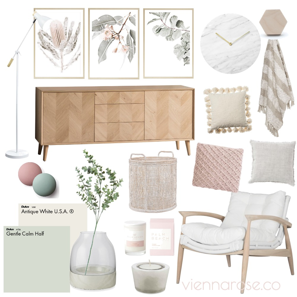 Peaches and Greens Interior Design Mood Board by Vienna Rose Styling on Style Sourcebook