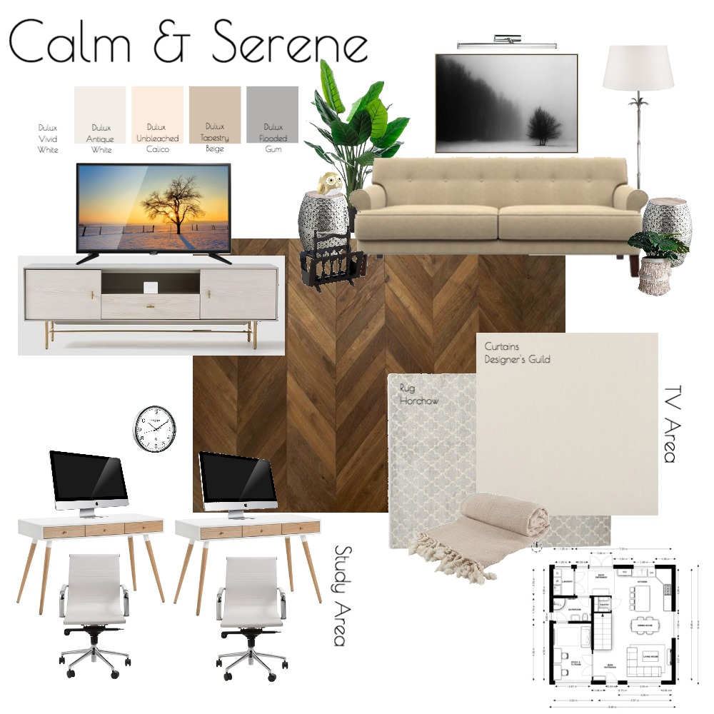 M9 - TV & Study Room Interior Design Mood Board by SharifahBahiyah on Style Sourcebook