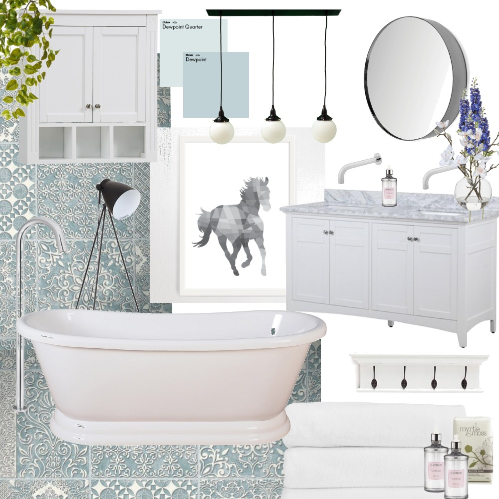 Soft Blue Bathroom Interior Design Mood Board by PaigeS on Style Sourcebook