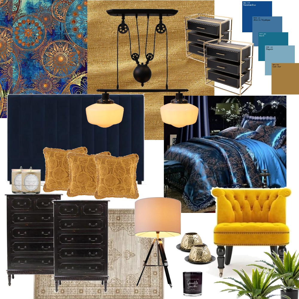 Exotic Blue Gold Bedroom Interior Design Mood Board by PaigeS on Style Sourcebook