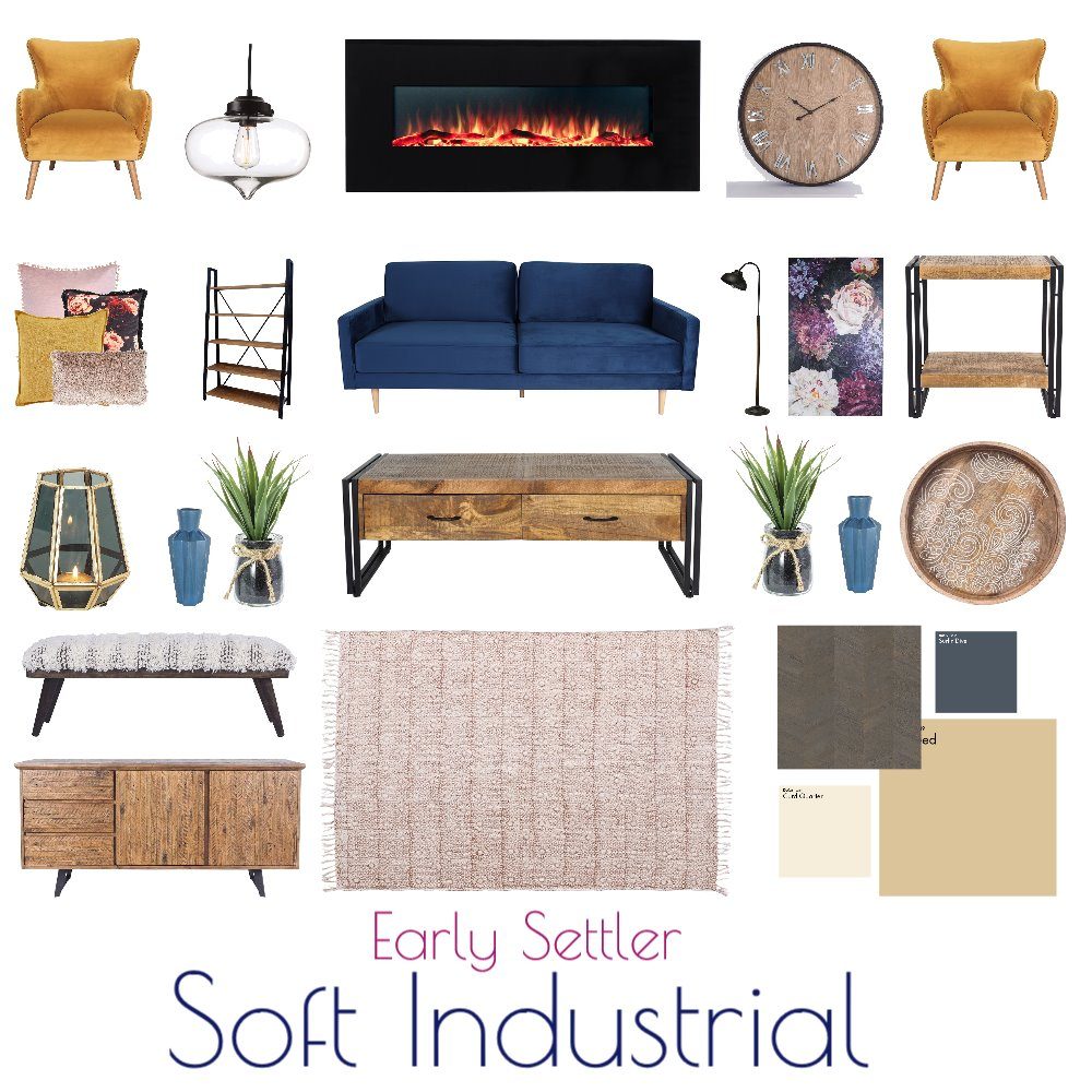 Soft Industrial Living Interior Design Mood Board by Natalie V on Style Sourcebook