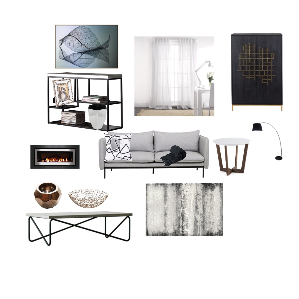 Achromatic living room Interior Design Mood Board by moonyadesign on Style Sourcebook