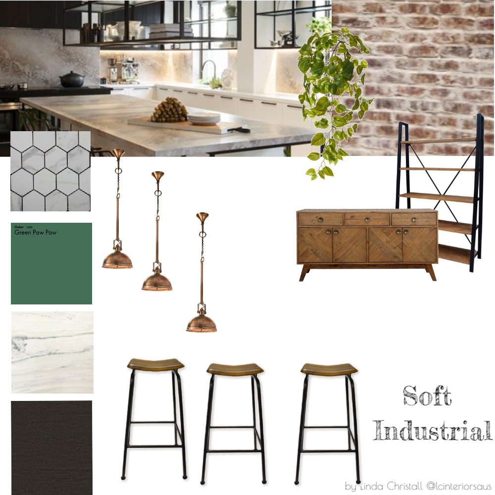 Soft Industrial Open Plan Kitchen Interior Design Mood Board by LC Interiors on Style Sourcebook