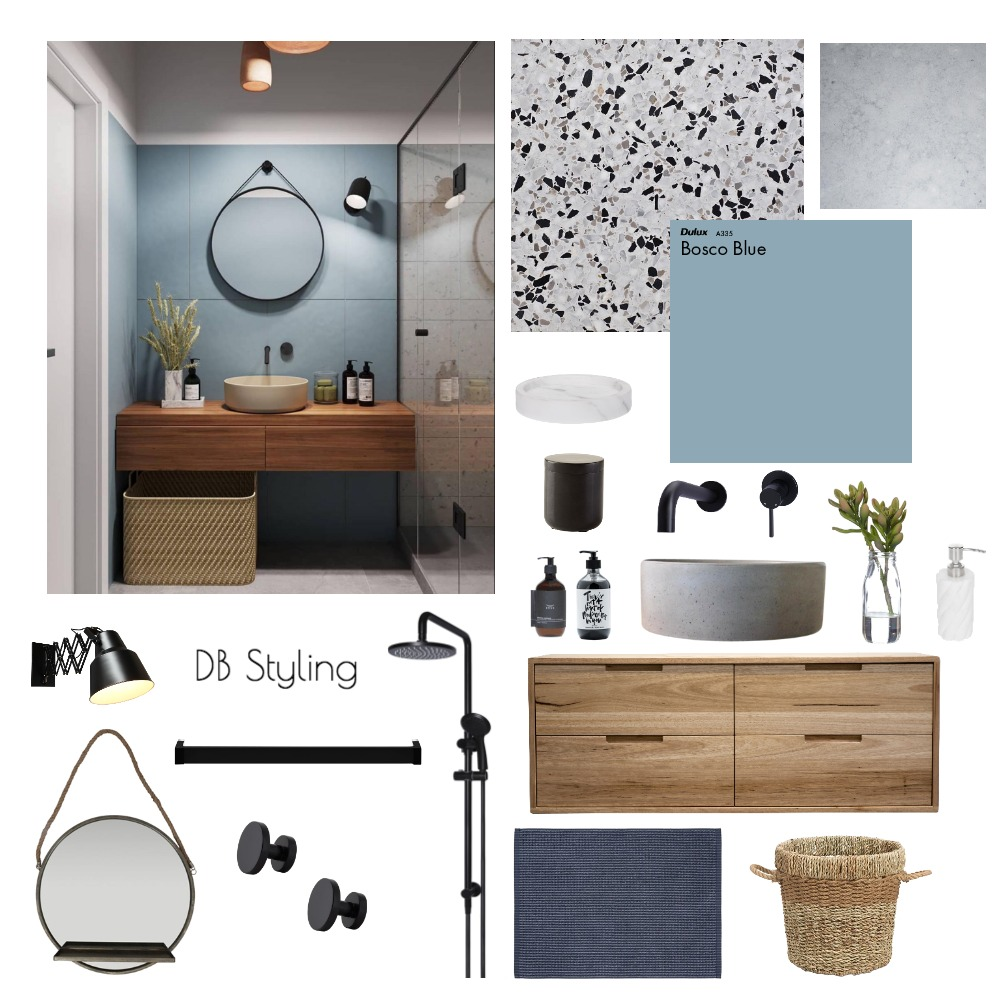 Terrazzo x Blue Bathroom Interior Design Mood Board by lucyvrvts on Style Sourcebook