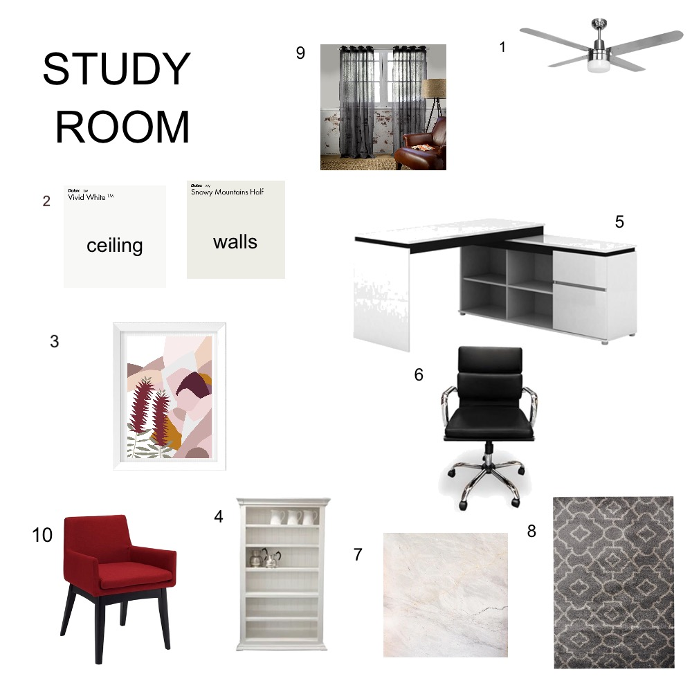 Study room Interior Design Mood Board by Christina45 on Style Sourcebook