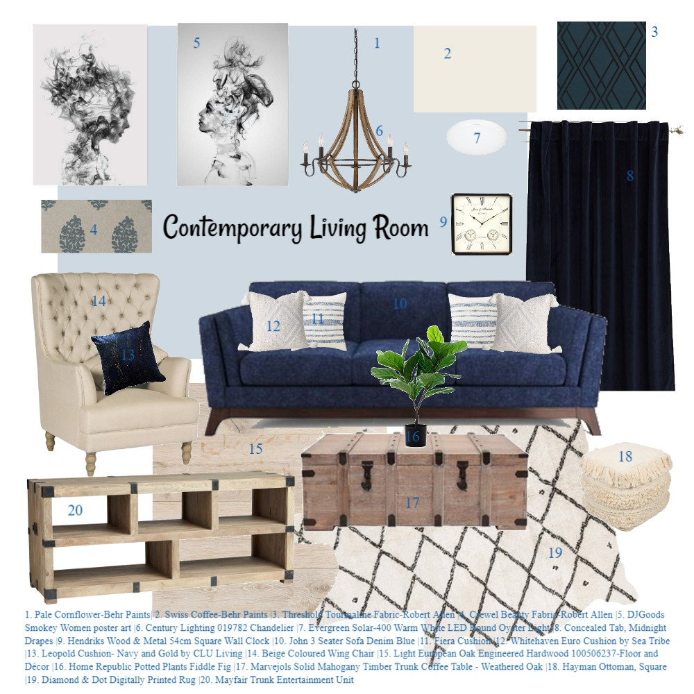 Contemporary Living Room Interior Design Mood Board by KHirschi on Style Sourcebook