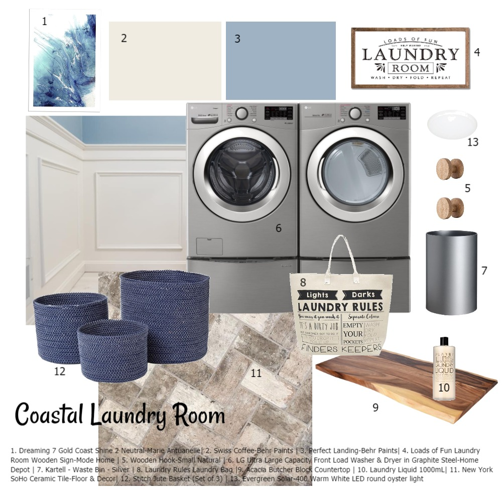 Coastal Laundry Room Interior Design Mood Board by KHirschi on Style Sourcebook