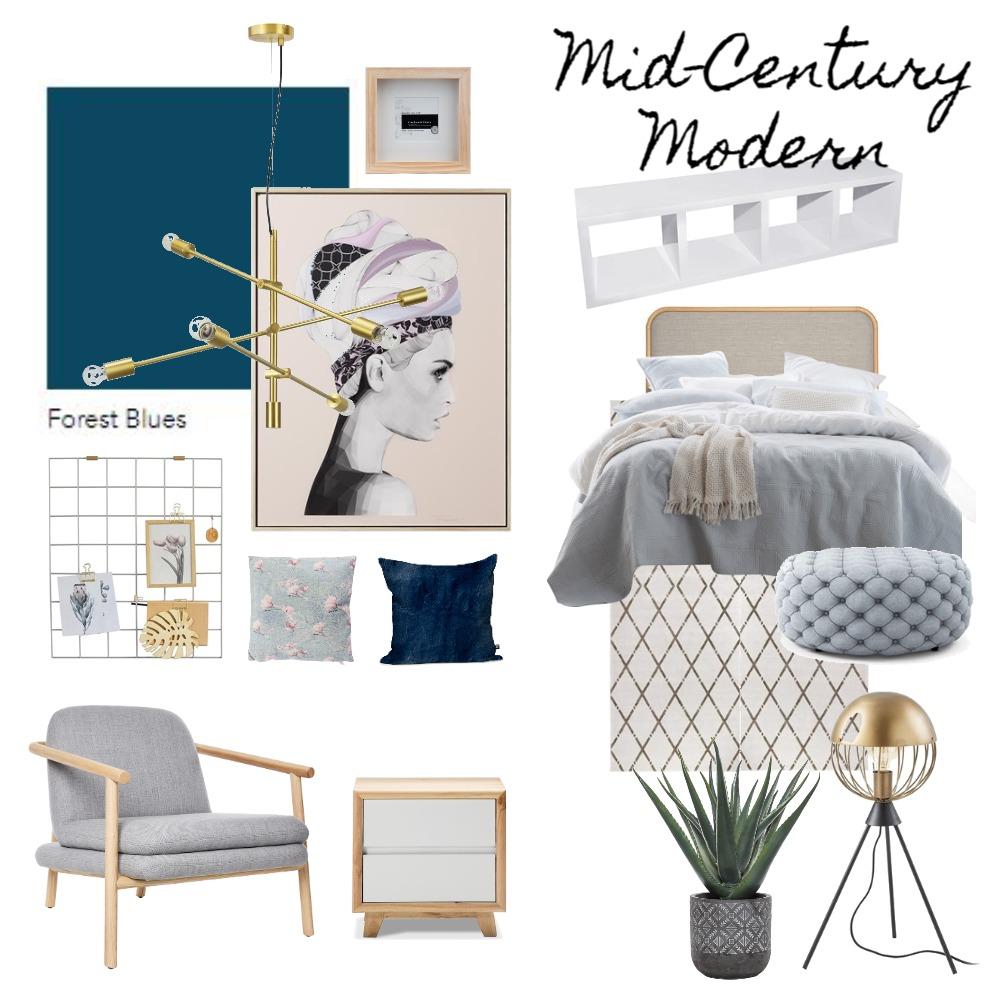 Mid-Century Modern Bedroom Interior Design Mood Board by unicatheunicorn on Style Sourcebook