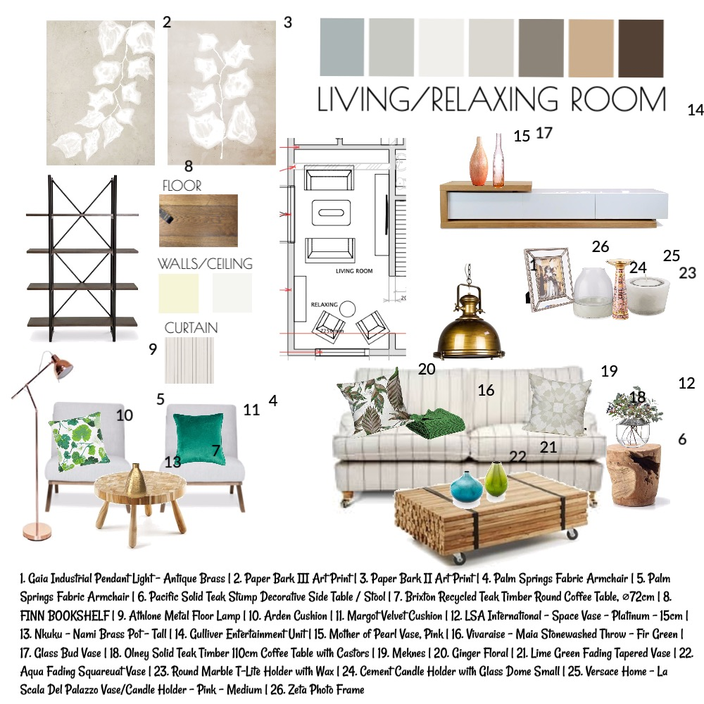 Living/relaxing room Interior Design Mood Board by Annamarie on Style Sourcebook