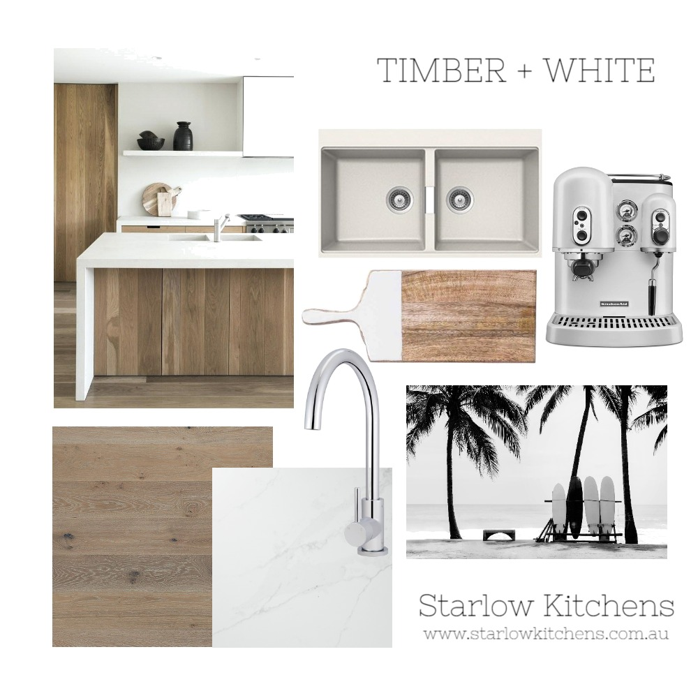 Timber & White Interior Design Mood Board by Starlow Kitchens on Style Sourcebook