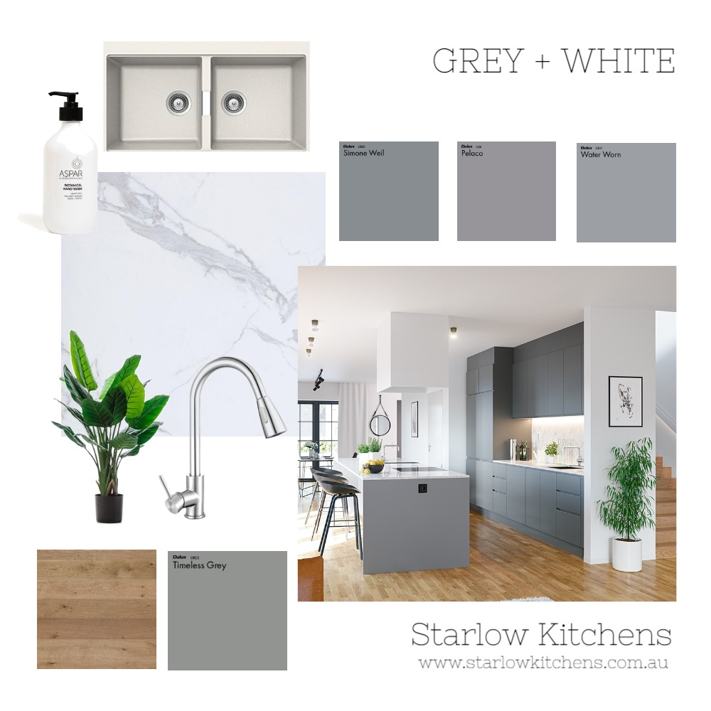 Grey & White Interior Design Mood Board by Starlow Kitchens on Style Sourcebook