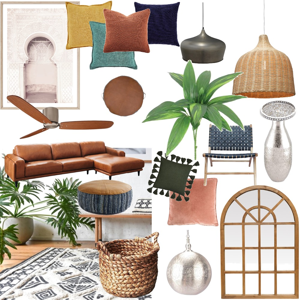 Modern Moroccan Lounge Room Interior Design Mood Board by Cevans on Style Sourcebook