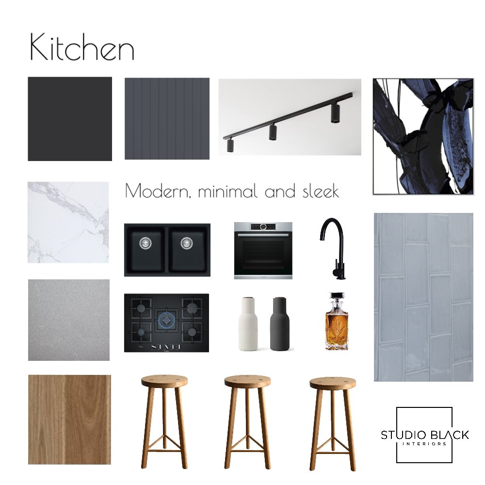 Kitchen - Modern, minimal and sleek Interior Design Mood Board by Studio Black Interiors on Style Sourcebook
