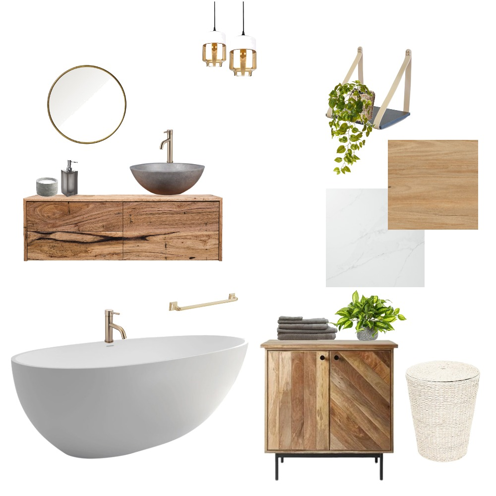 Bathroom Wood and Stone Interior Design Mood Board by Holi Home on Style Sourcebook