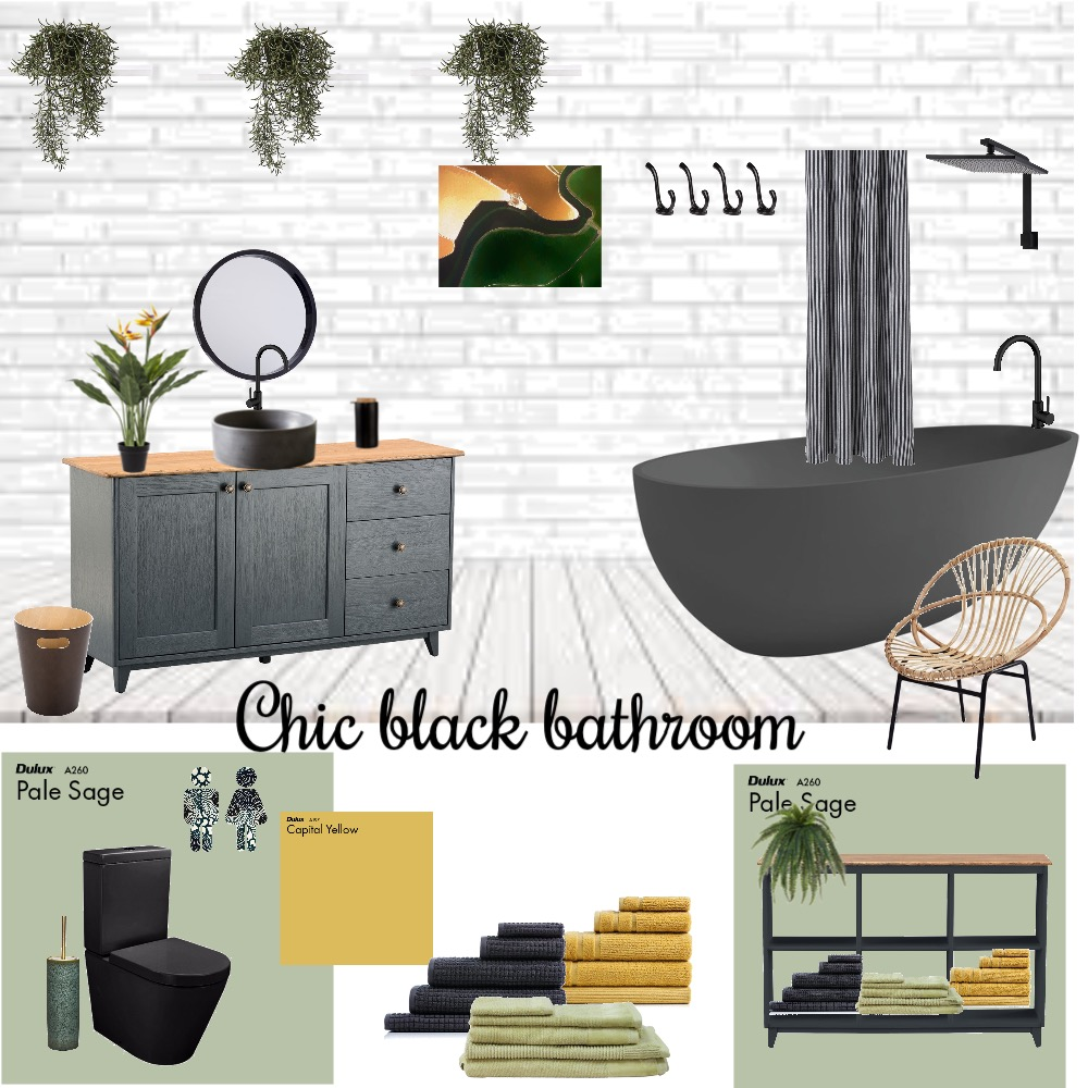 Chic black bathroom Interior Design Mood Board by VisualStyle on Style Sourcebook