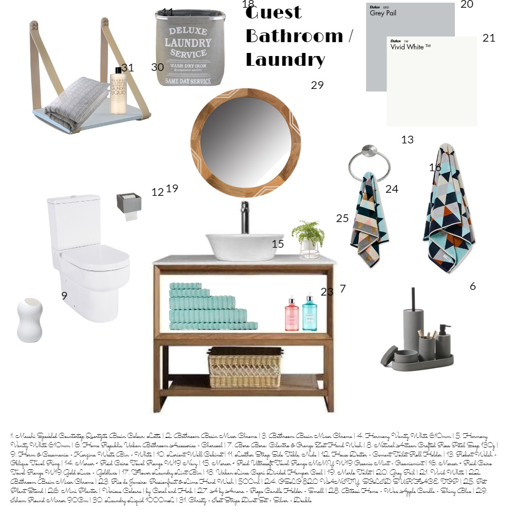 GUEST BATHROOM/LAUNDRY ASS 9 Interior Design Mood Board by lyndee on Style Sourcebook