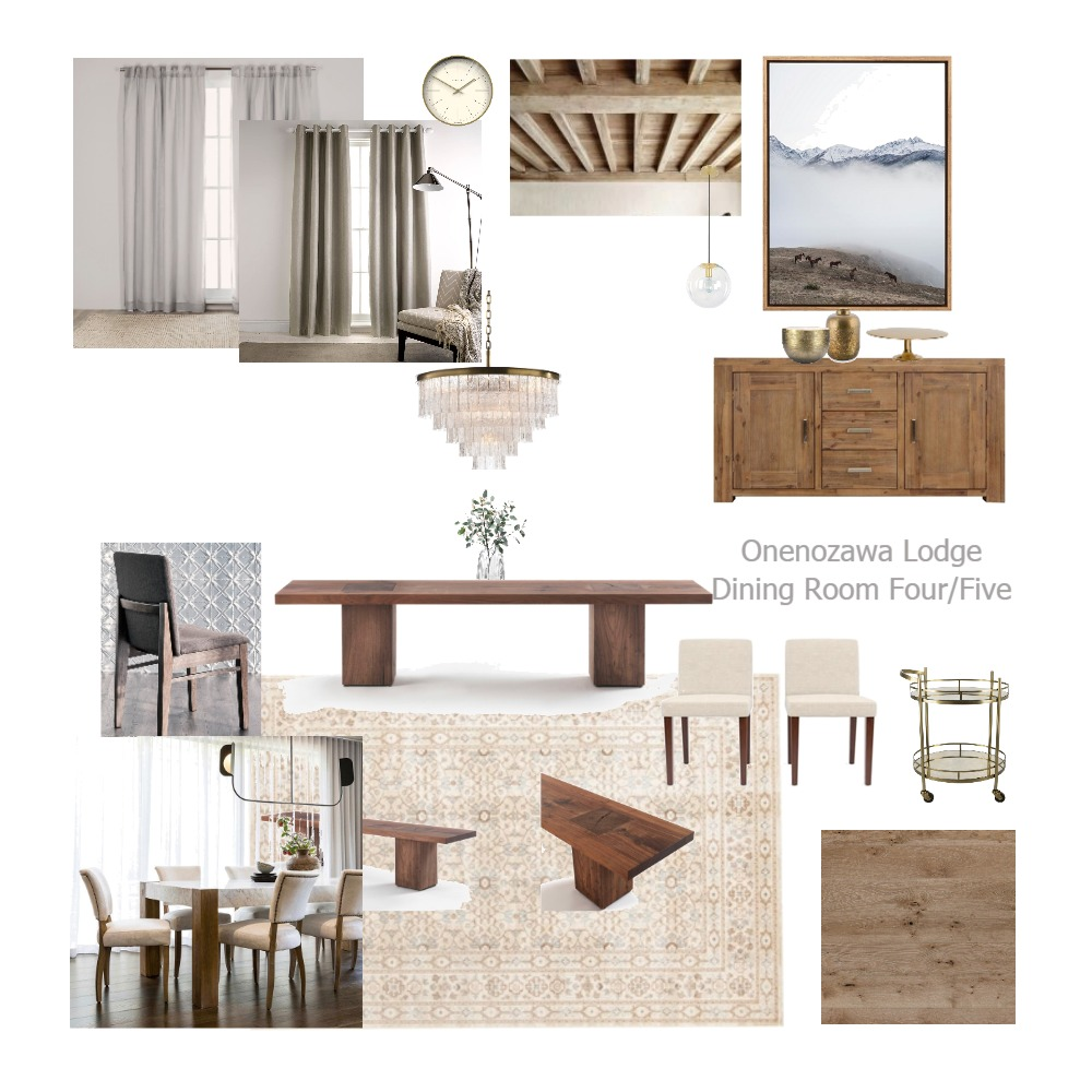 Onenozawa Lodge Dining Room Four/Five Interior Design Mood Board by aliceandloan on Style Sourcebook