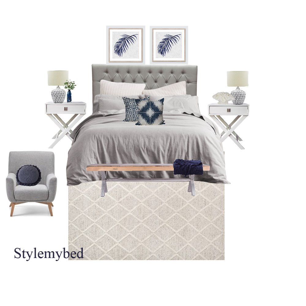 Stylish blues Interior Design Mood Board by stylemybed on Style Sourcebook